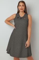 PAPRIKA Black & White Patterned Sleeveless Skater Dress