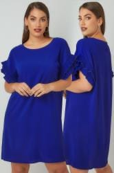 PAPRIKA Blue Tunic Dress With Frilled Sleeves