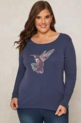 PAPRIKA Blue Top With Beaded Bird Design & Long Sleeves