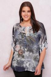 PAPRIKA Blue & White Floral Print Blouse With Cami
