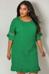 PAPRIKA Green & White Polka Dot Dress With Frilled Trims