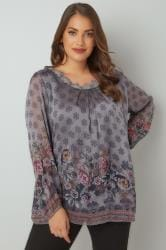 PAPRIKA Grey Floral Print Blouse With Crochet Neckline