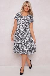 PAPRIKA Grey & White Letter Print Dress With Cut Out Neck Detail