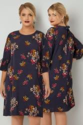 PAPRIKA Navy Floral Print Dress With Pleated Sleeves