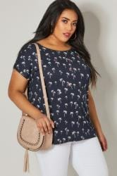 PAPRIKA Navy Palm Tree Print Sequin Embellished Top