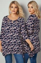 PAPRIKA Navy & Red Circle Patterned Jersey Tunic Top With Cut Out Details