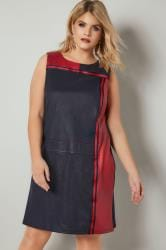 PAPRIKA Navy & Red Faux Suede Colour Block Sleeveless Tunic Dress