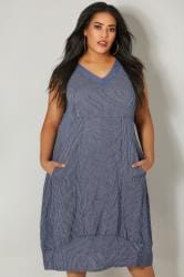 PAPRIKA Navy Stripe Linen Dress With Sequin Embellished Neckline