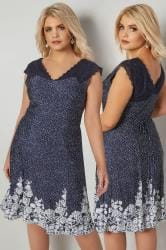 PAPRIKA Navy & White Dotty Dress With Floral Print Hem