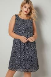 PAPRIKA Navy & White Dotty Print Dress With Tiered Waistband
