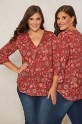 PAPRIKA Red Floral Ruched Detail Jersey Gypsy Top With V-neckline