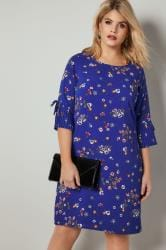 PAPRIKA Royal Blue Floral Print Dress With Frilled Flute Sleeves