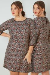 PAPRIKA Tan & Brown Geometric Print Tunic Dress With 3/4 Length Sleeves