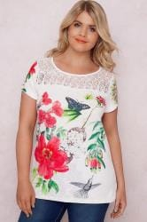 PAPRIKA White & Multi Floral Print Top With Lace Yoke