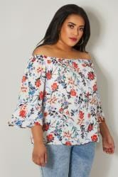 PAPRIKA White & Multi Floral Sequin Embellished Bardot Top