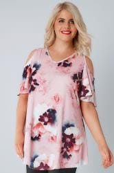 Pink & Multi Floral Print Slinky Cold Shoulder Top