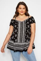 Black Mixed Print Cold Shoulder Top