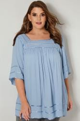 Pale Blue Tipped Blouse With Crochet Neckline