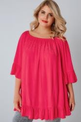 Pink Bardot Gypsy Top With Beaded Details & Flute Sleeves