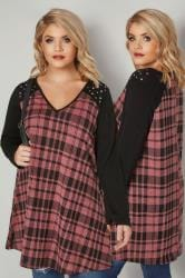 Pink & Black Check Swing Top With Eyelet Details