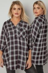 Pink & Black Oversized Checked Shirt With V-Neck