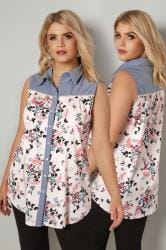 Pink & Blue Butterfly Print Sleeveless Shirt With Chambray Trim