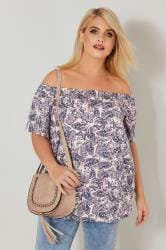 Pink Butterfly Print Bardot Top With Bubble Hem