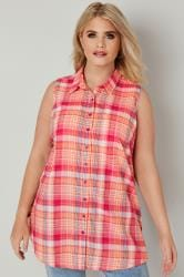 Pink Check Longline Sleeveless Shirt