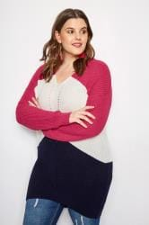 Pink Colour Block Pointelle Jumper