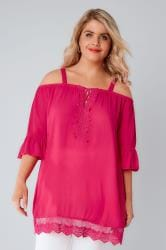 Pink Cold Shoulder Crinkle Top With Frill Sleeves