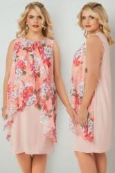 Pink & Coral Floral Printed Dress With Layered Front & Diamante Detail Neckline