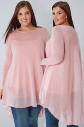 Pink Dipped Hem Longline Top With Sheer Panels