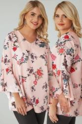 Pink Floral Print Woven Blouse With Flute Sleeves