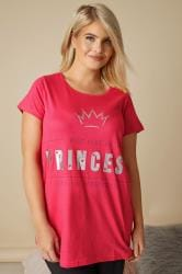 Pink Princess Slogan Pyjama Top
