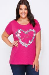 Pink 'J'adore' & Butterfly Print T-Shirt With Short Sleeves