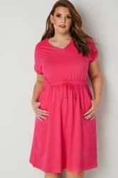 Pink Jersey T-Shirt Dress With Drawstring Waist