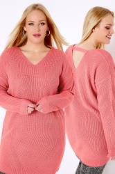 Pink Longline Jumper With Pointelle Detail & Back Cut Out