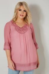 Pink Longline Top With Embellished Neckline & Lace Trim
