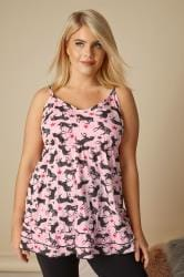 Pink Longline Unicorn Print Pyjama Cami Top With Frilled Hem