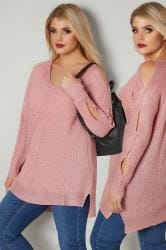 Pink Metallic Jumper With Cross Cut Out Sleeves