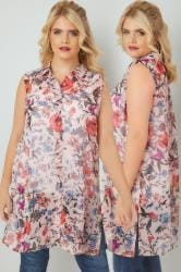 Pink & Multi Floral Print Sleeveless Shirt