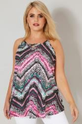 Pink & Multi Printed Vest Top With Cross Front Detail