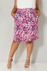 Pink & Navy Floral Print Drape Skirt With Pockets