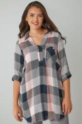 Pink & Navy Oversized Checked Shirt With V-Neck
