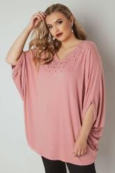 Pink Oversized Top With Faux Pearl Studs