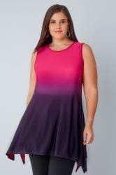 Pink & Purple Ombre Slinky Stretch Sleeveless Top With Cut Out Back
