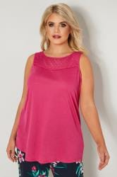 Pink Sleeveless Top With Lace Yoke