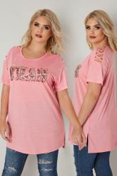 Pink Slogan Embellished T-Shirt With Lattice Detail
