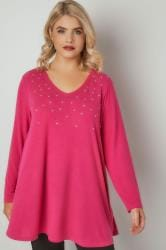 Pink Star Studded Swing Top With V-Neckline