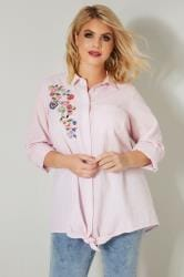 Pink & White Pinstripe Shirt With Floral Embroidered Patch
